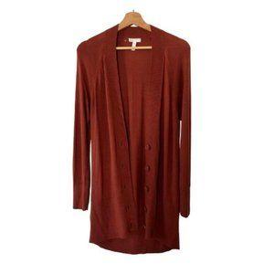 Leith Rust Button Down Long Sleeve Cardigan Medium